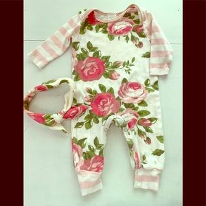 Pink /white floral outfit with matching headband